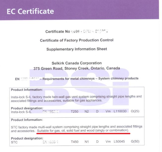 CE Zulassung - System SM250/STC/SMW - (in englischer Sprache) Ø 127mm/152mm/178mm/203mm
